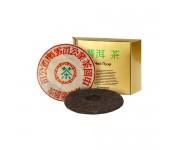 Китайский чай в упаковке 4-летний 8596 фу хай чи цзе бинг 357 г
